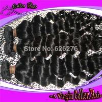 Free shipping 6A Virgin hair: mix Length 4pcs lot, AAAAAA quality natural color loose deep wave malaysian human hair