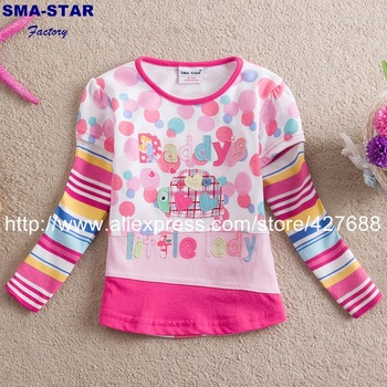 SMA STAR 2014 new free shipping t shirt T-shirts dot baby girls long sleeve children clothing kids wear 1-6 year L62108#