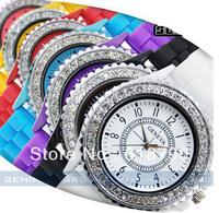 Wholesale GENEVA fashion silicone watch Diamond quartz watch Geneva Watch 20Pcs/Lot Free shipping