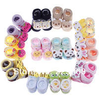 Free Shipping 12 Style 1pair/2pcs Children Baby Newborn 0-6 months Unisex Animal Sock Indoor Anti-slip Socks Cartoon Shoes Boots