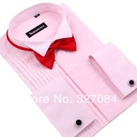 [LF03-1] 2013 Noble Elegant bow Tie Wedding dress shirts,Slim fit Shirts long sleeve collar pink Plus size free shipping