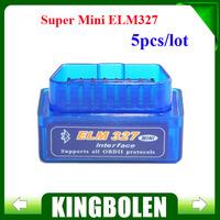 (5PCS/LOT) 2014 Newest Super Mini ELM327 Bluetooth V2.1 OBD2 ELM 327 Wireless Scan Tool OBDii / OBD2 ELM 327 Bluetooth