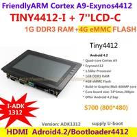 FriendlyARM Cortex A9 Quad core TINY4412 Enhanced ADK1312  + S700 7 inch Capacitive screen 1G RAM + 4G Flash Board Android 4.2