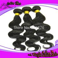6A Virgin Collen hair-3PCS lots Same Mixed length 100% unprocessed real Brazilian human Hair weavs bundles Body wave Easy Care