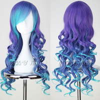 New long curly VOCALOID3 LUKA Blue & purple Party wigs Cosplay anime wig + free cap