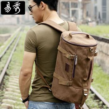 Eshow Brown Men's Backpacks Travel Bags Canvas Backpack Men Shoulder Sport Gym Duffel Bag BFB002301