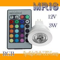 3W MR16 RGB LED Light Bulb 16 Colors Spotlight Bulb LED Lamp 85-265V + IR Remote controller 1pcs/lot