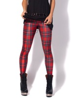 New Arrival Women 2013 Designed digital Printed milk vintage Tartan Red Leggings Fitness S106-332