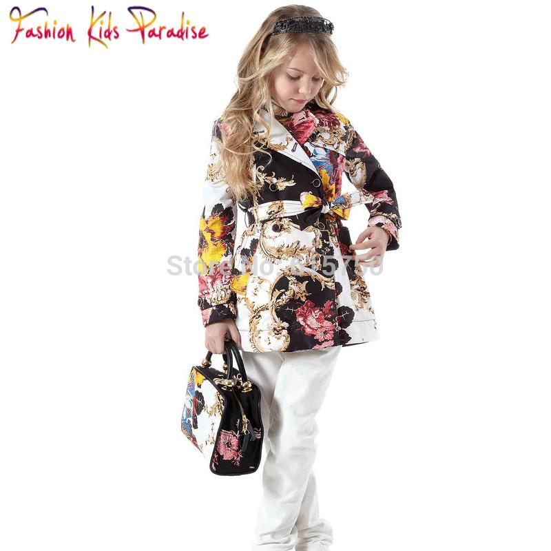 De la marca italia 2014 hotsale niñas trinchera abrigo, calidad superior de diseño niña& chaquetas abrigos, el patrón tótem los niños ropa de abrigo, 2-12y
