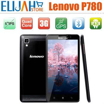 Original  5 inch Lenovo P780 Quad Core Android 4.2 IPS Bluetooth 3G Cell Phones Multi-Languages Mobile Free case&Protector
