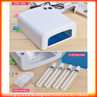 UV Lamp 36w 220v Nail Polish Lamp Equipment White Gel Curing Nail Art UV Lamp Dryer Machine Light For Manicure(EU Plug)