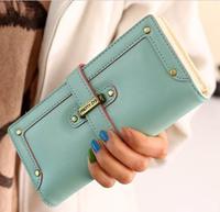 new fashion lady women purse long wallet bags quality handbag leather  PU Pumping belt style free shipping gift