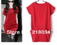 2014 Euramerican style large size M-XXXL spring autumn and winter fashion loose one-piece dress,freeshipping