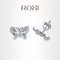 ROXI  Exquisite butterfly Earrings platinum plated with AAA zircon,fashion Environmental Micro-Inserted Jewelry,102018300