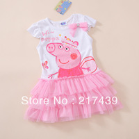 Free shipping! Peppa Pig girl girls kids short sleeve sleeved summer TUTU dress dresses 10 pcs/lot