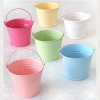 Mini Wedding Tin Buckets Pails Favor Candy Boxes Metal Storage Box 12pcs/lot Free Shipping