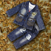 2015 New Autumn And Winter Boys Clothing Sets 3 PCS Jeans Jacket And T Shirt And Pants Kids Clothing Sets Wholesale CS30725-6