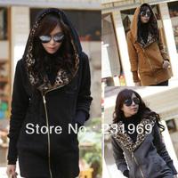 2014 New Fashion Winter Coat Women hoodies Korean Casual Parka Leopard Printed Down Coat Hooded Femininas Cotton Clothes 906