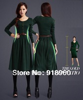 2014 New autumn & spring long sleeve dress women's retro Dress/Fashion empire waist Vintage pleated lap knee-length dress/WOW