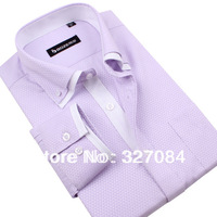 2013 Mens dress shirts long sleeve,Stylish Casual shirts,Business Shirt For Men,Purple XXXXL High quality Free shipping  #SL08