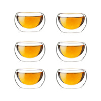 Double wall heat resistant glass tea cups 50ml 6pcs/lot for cups&saucers