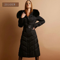Super Slim Luxury Lengthen Thickening Down Coat Large Fox Fur Lengthen Design Women Down Jacket Plus Size XXXL