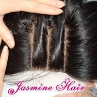 Cheapest 3 Way part silk base closure 4''x4'',virgin brazilian hair lace top closure unprocessed hair swiss lace bleached knots