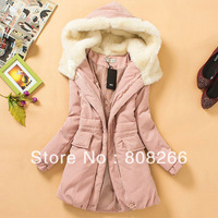 New fashion hooded woman jacket long winter coat for women pink/blue