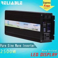 Double LED display 2500W 12/24/48v to 100/110/220/230/240V Off Grid Pure Sine wave Solar Inverter 5000W Peak  power inverter