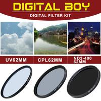 (3pcs/set) 62mm UV filter+62mm CPL filter+62mm adjustable ND filter for camera lens protector filter kit