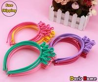 Free shipping 24pcs girl's princess crown party headband 6 colors