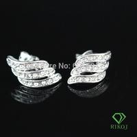 2014 wholesale rhinestone fashion women 18k white gold plated Austrian crystal fashion alloy stud wings earrings