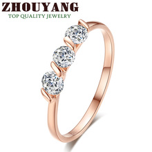 ZYR067 Concise Crystal Ring 18K Rose Gold Plated Made with Genuine Austrian Crystals Full Sizes Wholesale
