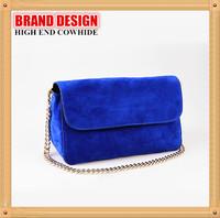 2014 New High Quality Dark Blue Matte Genuine Leather Shoulder Bag,Celebrity Style Messenger Bag,Women Metal Chain Handbag B128