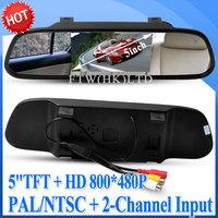 "5"" TFT Screen Car Rear View Mirror Monitor with HD 800*480 Resolution + PAL/ NTSC C12"
