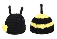 2014 Newborn Photography Props Baby Beanie Hats Set/Costume Photo Knit Caps/ Animal Bee Crochet Hat Suit Black 18008