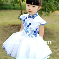 Free Shipping Summer Fashion Blue And White Porcelain Design Girls Sleeveless Dress For Kids Wear Princess Dress XM-187