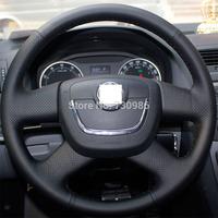 XuJi Black Genuine Leather Steering Wheel Cover for 2012 2013 Skoda Octavia Superb 2012 Fabia Skoda Octavia a 5 a5