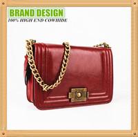 Chinese Production High Quality Cowhide Retro Classic Brand Women's Handbag,Metal Chain Crossbody Messenger Bag, Satchel B127