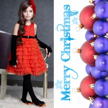 Luxury red cake tutu ball gown knee-length girl party dress Free shipping (1pcs) retail 3~11age shij