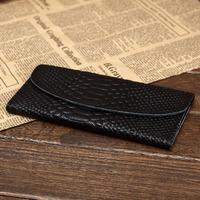Long classical genuine leather purse, trifold stone/crocodile pattern leather wallet,Men's/Women clutch,black,[Fashion Depot]