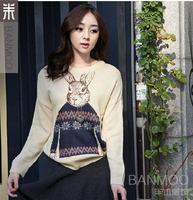 free shipping 2013 autumn lovely rabbit pattern long sleeve round collar vintage women's sweater 30446