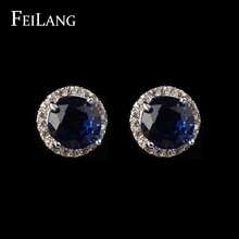 FEILANG White Gold Plating Cut 8mm 2ct Round Shape Swiss Cubic Zirconia Diamond Stud Earring Design