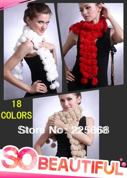 FREE SHIPPING Women's Fur Scarves 100% Fur Ball velvet Rabbit Long style Woman Winter 2013 white Scarves
