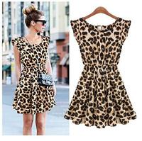 New 2014 M L XL Sexy One Piece Silk Ruffles Sleeve Leopard Print Casual Women Summer Dress