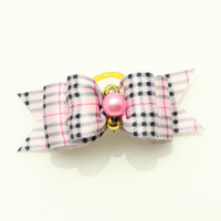 Handmade Accessories dog grooming Pink beads classic retro stripes Ribbon Hair Bow  pet satin bow Free Shipping.