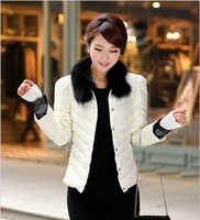 2013  black  fur collar lace thread slim design women's short down jacket outerwear coats down parkas
