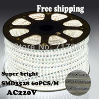 3528 LED Strip light home decor 220V/230V/240V 4.8W/M 60LED/M IP65 Waterproof Red/Yellow/Blue/White +Plug or the controller