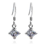 Wholesale 1 CT Princess cut  synthetic diamond magnet earrings for women 925 silver hook women wedding earrings with big stones