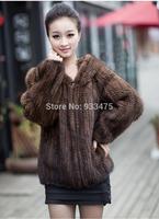 2013 New Genuine Knit Mink Fur Jacket With Hood Mink Fur Coat Warm Winter Fur outerwear EMS Free Shipping TPCM0001